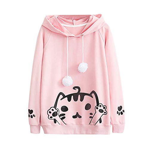 Teenager Mädchen Sweatshirt Casual Womens Long Sleeve Cat Printing Mit Kapuze Rundhals Bluse Tops MYMYG Rundhals Pullover Bluse Tops T-Shirt(Rosa,EU:34/CN-S) Express Womens Long Sleeve Shirt