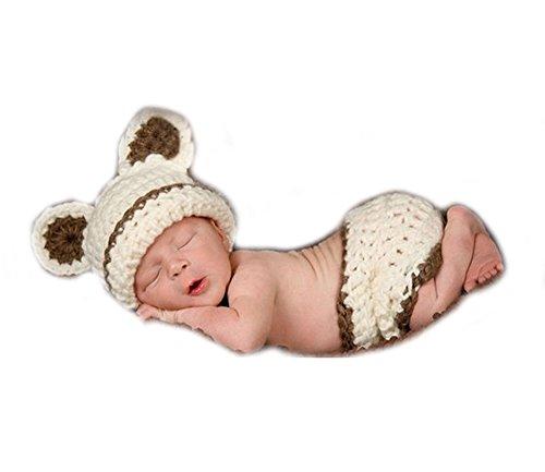 Unbekannt Baby Häkelkostüm Strick Kostüm Fotoshooting Fotos Beige Teddy Bär - Teddy Baby Kostüm