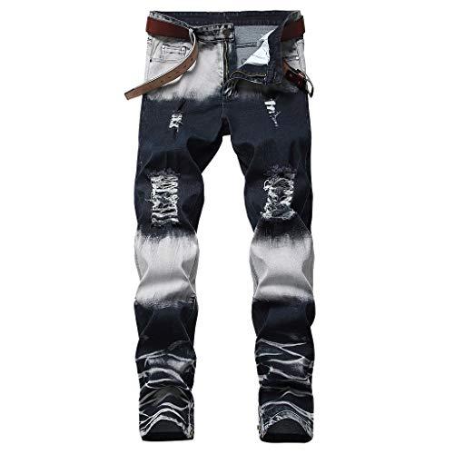 DeHolifer Sommer Herren Loch Jeans,Männer Mode Freizeit Slim Fit Streifen Beam Fuß Hose Qualitativ Hochwertige Einfach Hose - Klassische Spandex-jeans