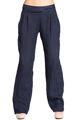 CASPAR KHS020 Damen Leinen Hose, Farbe:dunkelblau;Größe:40 L UK12 US10