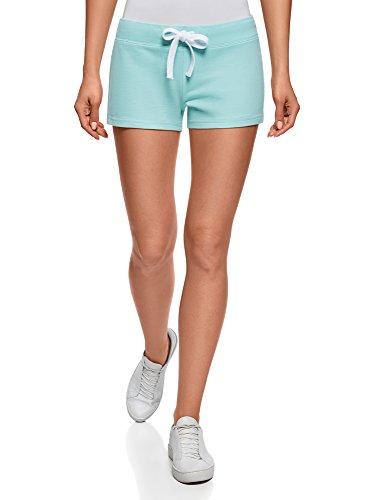 oodji Ultra Damen Jersey-Shorts Basic, Türkis, DE 38/EU 40/M (Baumwoll-jersey Damen-kurz)