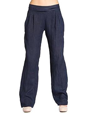 Caspar KHS020 Pantalones de Lino para Mujer con Corte Holgado Ideal para Verano