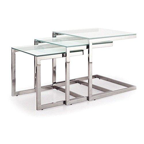 designement Table Basse Gigogne en Verre Trio