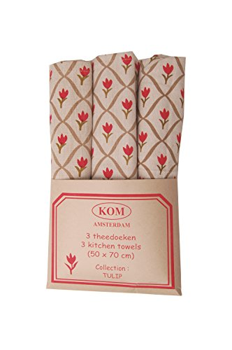 Campagne Table Linen Lot de 3 torchons Motif tulipe Rouge