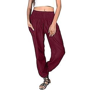 iYmitz Damen Hippie Haremshose Einfarbig Capri Thai Hose Leichte mit Taschen Dünn Boho Ethno Strand Sommerhose Yogahose(Wein,3XL)
