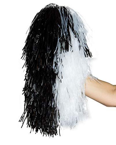 Horror-Shop Cheerleader Pompom schwarz-weißer Puschel als Faschings-Accessoire