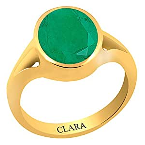 Clara Certified Emerald Panna 7.5 carat or 8.25ratti Panchdhatu Gold Polish Astrology Ring For Men & Women