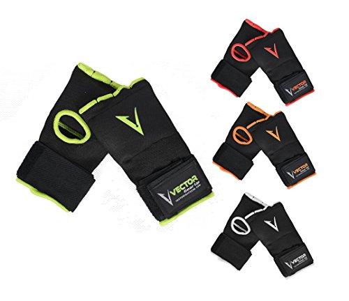 Vector Sports - Vendajes de mano de Gel Acolchado para entrenamiento, Unisex, Protector de puño, para ser usado debajo de los guantes para boxeo MMA Kickboxing Muay Thai, 4 colores, Large, Anaranjado