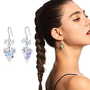Gushion 3 Farben Herz Swarovski Kristall 925 Sterling Silber Ohrringe für Frauen Fine Ear Schmuck Zubehör für Mutter Geburtstag Valentinstag Geschenke für Mädchen mit Geschenkbox