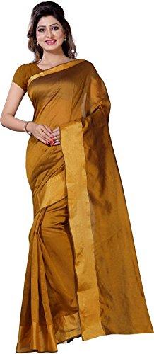 Vimalnath Synthetics Solid Fashion Cotton Saree (Gold)