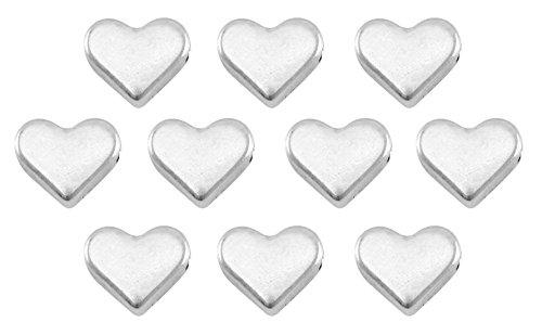 Nuoli Herz Perlen Silber (10 Stück) Herzperlen zum Basteln ca. 6mm, DQ Metall mit horizontalem Reihloch - Perlen-anhänger