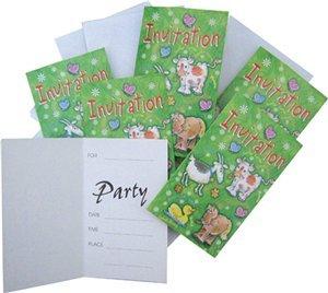 6 Cartes d'invitation animaux pour gouter d'enfant et anniversaire