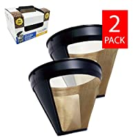 GOLDTONE Reusable No.4 Cone Style KRUPS Reusable Coffee Filter Replaces Your F05342 Permanent Coffee Filter for KRUPS Machines and Brewers (2 Pack)
