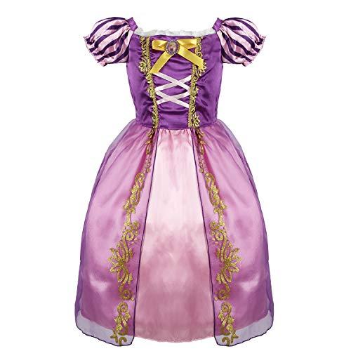 discoball Rapunzel Kostüm Mädchen Prinzessin Kleid Märchen Rollenspiel Festkleid mit Puffärmeln für Halloween Geburtstag Cosplay Party
