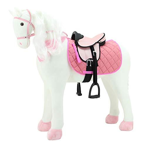 Sweety Toys 11063 Plüsch Pferd XXL Giant Riesen Stehpferd Reitpferd White Beauty Größe ca.125 cm Kopfhöhe bis 100 kg belastbar, Farbe Weiss mit Mähne und Schweif mit Sattel