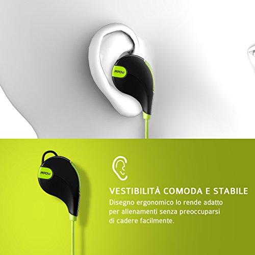 ... Mpow Swift Auricolari Wireless Bluetooth 4.0 Headset Stereo Cuffie  Sportive a Prova di Sudore con Microfono ... 99fb6302adc4