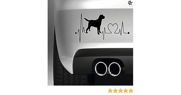 Herzschlag Aufkleber Labrador 20cm Sticker Herz Fan Hobby Leidenschaft Liebe Für Auto Autoaufkleber Auto