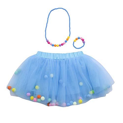 WOZOW Kinder Tüllrock Einfarbig Fellknäuel Kunstpelzball Kurz Kleider Röckchen Halloween Weihnachten Karneval Fasching Mädchen Minirock