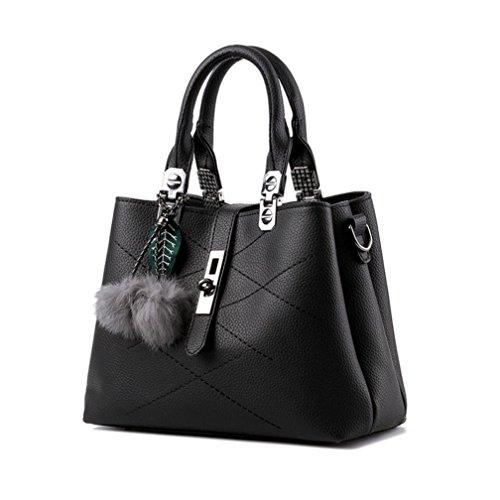 Longra Moda Donna Pelle artificiale Foglie di capelli Decorazione palla Vite fibbia borsa a tracolla Messenger Bag Borsa Tote Bag Nero