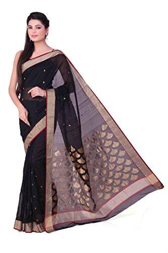 Black Kareena Kapoor Design Pattern Chanderi Saree.(Inside butti)