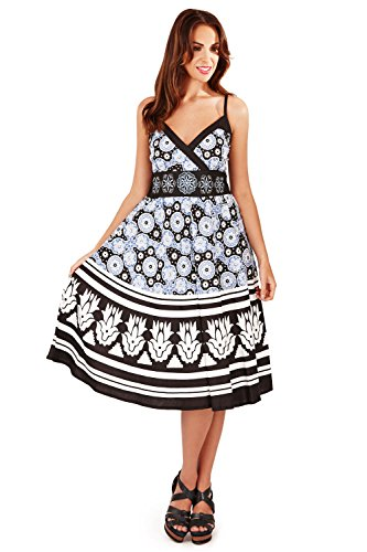 Pistachio Womens Floral Stripe Mosaic Print Crossover Short Midi Dress (Blue, L)