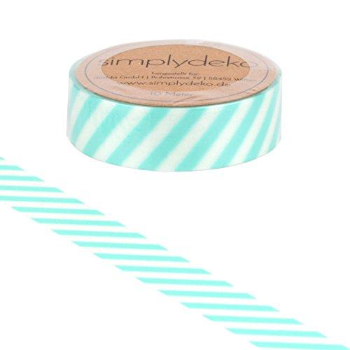 Simplydeko Washi Tape - Masking Tape Streifen und Karo - Wundervolles Washitape Bastel-Klebeband aus Reispapier - Streifen Mint