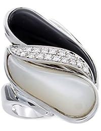 Rajola Oro Blanco 18K 14pts Diamante, Mother of Perla y Onyx Anillo - Fly Colleción - Size N 1/2