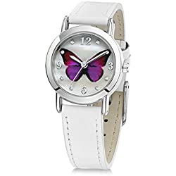 Jo for Girls Pink Butterfly Girl's Quartz Analogue Watch with Mother of Pearl Dial and White