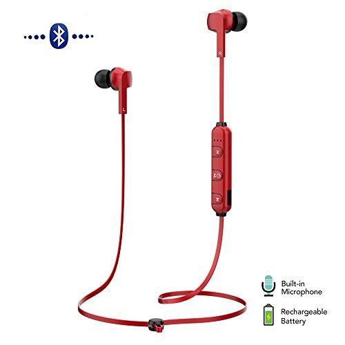 MOREFINE Bluetooth CSL Kopfhörer Sport HD Stereo Kabellose Sweatproof In Ear Ohrhörer mit Mikrofon Rauschunterdrückung Zubehör iOS Android Headset für Fitnessstudio Laufen iPhone X Samsung S9 S8 HTC Xiaomi Huawei Sony Geburtstag Geschenk