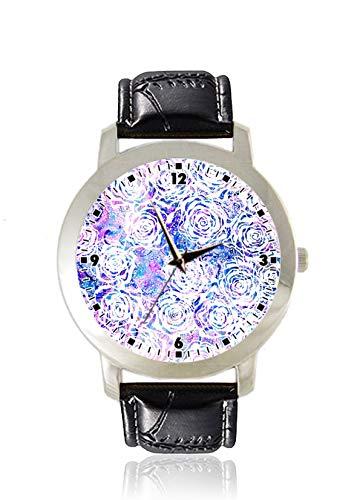Silber Fancy Dress Ideen - Fancy Rose Print Damen Armbanduhr Dünn