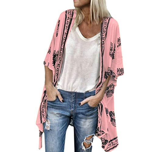 Fenverk Damen Bikini Cover Up Boho Strandkleid Kimono Chiffon Cardigan Sommer 3/4 äRmel Leicht Tuch Lange Mit Blumen Muster(Rosa,M) Chiffon Drop