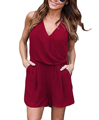 ALAIX femme élégant sans manches Club Combinaison Chiffon Jumpsuit Rompers rouge-M