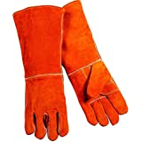 Jupiter Industries Barbeque Heat Resistant Gloves Temperature Upto 300 Degree Fahrenheit/150 Degree Celcius for Welding/Furnace/Stove/Fireplace/Tig/Mug - 14 Inches - Red - Pack of 1