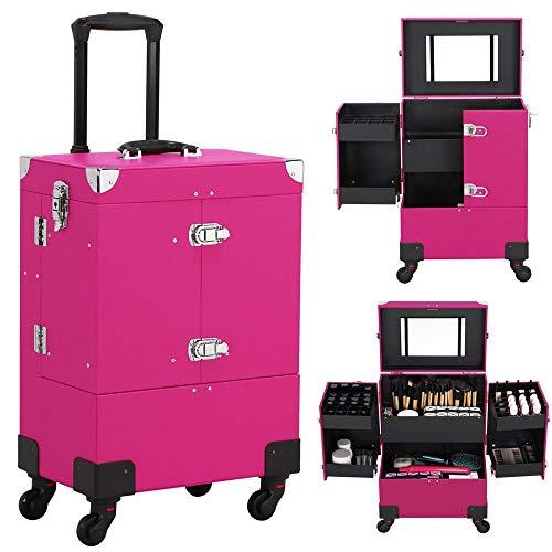Yaheetech Kosmetikkoffer Trolley Koffer Friseurkoffer Multikoffer Beauty Case mit Rädern und Spiegel Rosa Pink -