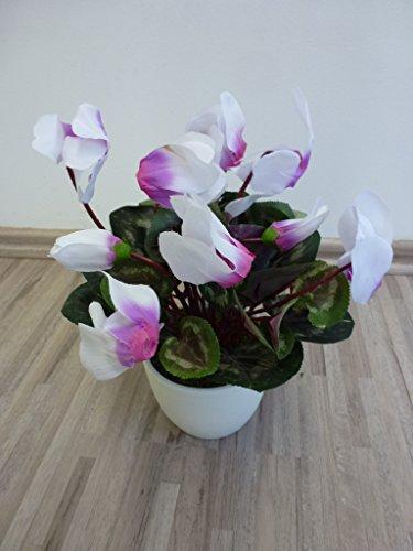 Alpenveilchen Seidenblume Kunstpflanze H 27 cm weiß-pink 514006-WOC getopft F69