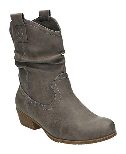 King Of Shoes Damen Stiefeletten Cowboy Western Stiefel Boots Schlupfstiefel Schuhe 36-2 (40, Grau)