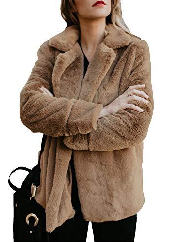 Vicroad giacca da donna in pelliccia sintetica calda elegante da donna, morbida imbottitura invernale con tasche
