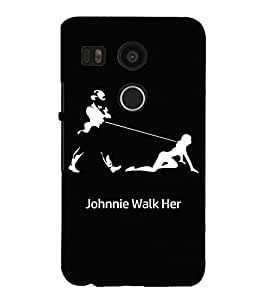 Takkloo Johnnie walk her ( black background, a lady and a man) Printed Designer Back Case Cover for LG Nexus 5X :: LG Google Nexus 5X New