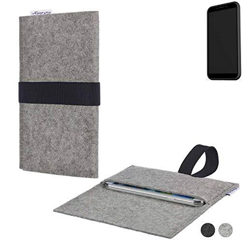 flat.design Handy Hülle Aveiro für Shift Shift6mq passgenau Handytasche Filz Tasche Etui Case fair schwarz hellgrau