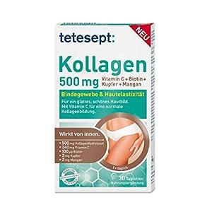 tetesept Kollagen 500 mg Tabletten zur Nahrungsergänzung – Für ein glattes, schönes Hautbild und eine normale Kollagenbildung – 1 x 30 Tabletten [Nahrungsergänzungsmittel]