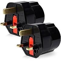 kwmobile 2x Reiseadapter Adapter Stecker für England - Reisestecker Stromadapter Schuko EU zu UK Steckdose - Travel Plug Schottland Irland in Schwarz