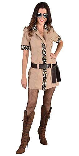 Jäger Muster Kostüm - narrenkiste M212131-L hell-braun Damen Safari Kleid Jäger Kostüm Gr.L
