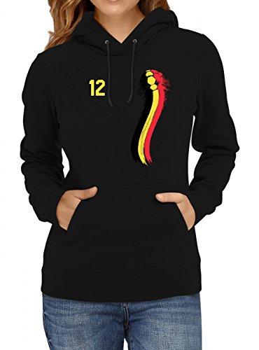 Belgien Weltmeisterschaft 2018#33 Premium Hoodie Fan Trikot Fußball WM Nationalmannschaft Frauen Kapuzenpullover, Farbe:Schwarz;Größe:L