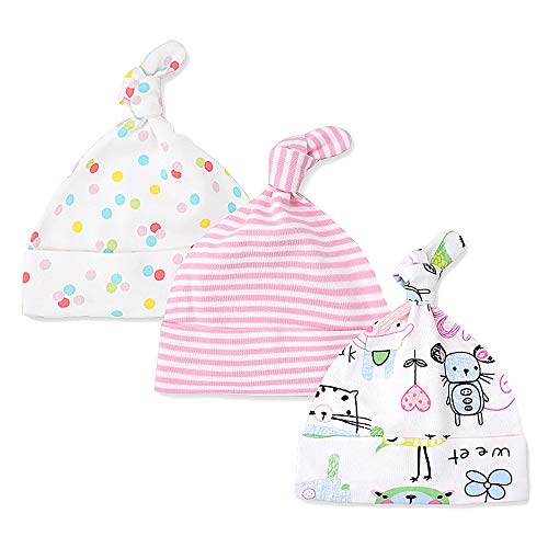 Lacofia Neugeborenes Baby Jungen Mädchen Baumwolle Gedruckt Beanie Hut Unisex Kleinkind Top Knoten Mütze 0-6 Monate Pack 3 Maus