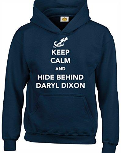 Crown Designs Keep Calm and Hide Behind Daryl Dixon Zombie-Tv-Show Inspiriert Geschenk Unisex Pullover Für Männer, Frauen Und Jugendliche (Marine/3X-Large)