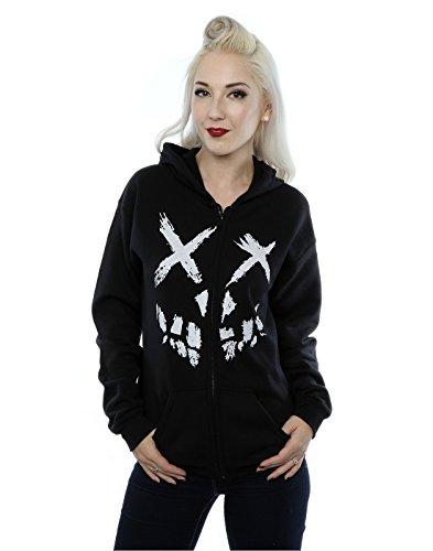 Suicide Squad Donna Skull Face Zip Up Felpa con cappuccio Large Nero