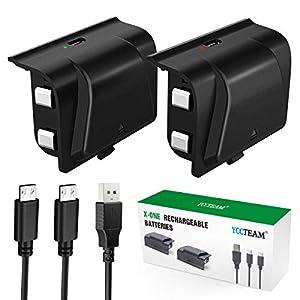 Xbox One Akku Pack 2 x 1200 mAh Xbox One Controller Akku mit 1,2 m Micro USB-Kabel und LED Ladeanzeige für Xbox One / S…