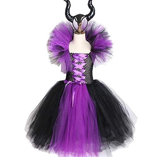 Böse Das Einhorn Kostüm - XIAOYUTOU Böse Königin Mädchen Tutu Kleid mit Hörnern Halloween Cosplay Hexe Kostüm for Mädchen Kinder Party Kleid Kinder Kleidung (Size : 12T, Source : Kids Costume)