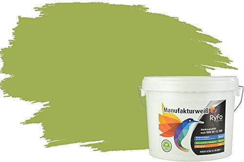 RyFo Colors Bunte Wandfarbe Manufakturweiß Olivgrün 6l - weitere Grün Farbtöne und Größen erhältlich, Deckkraft Klasse 1, Nassabrieb Klasse 1