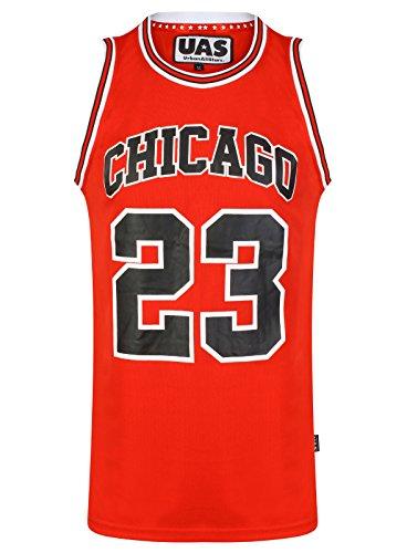 UrbanAllStars - Camiseta sin Mangas para Hombre Estilo Americano de los Estados Unidos de Estilo Miami NY Chicago LA Brookly Rojo Chicago Red 23 S